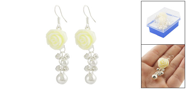 Pair White Yellow Rose Faux Rhinestone Accent Dangling Hook Earrings