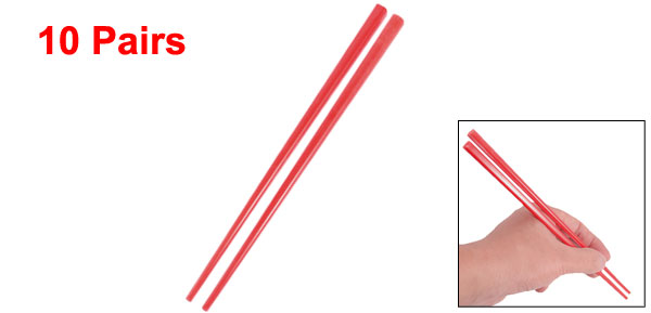 Home Kitchen Tableware Red Plastic Tapered Chopsticks 10 Pairs