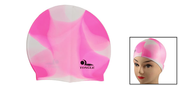 Adult Swimmer Pink White Soft Silicone Water Resistance Swimming Cap