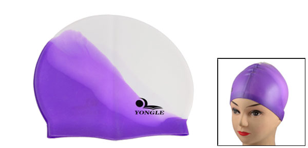 Adult Swimmer White Purple Soft Silicone Waterproof Swimming Cap