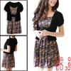 Ladies Bow Tie Decor Waist Short Sleeve Floral Prints Black Dark ...