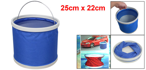 Car Travel Foldable Design Water Bucket Fish Pail Blue White 11L
