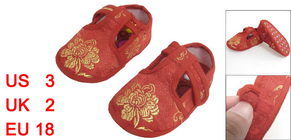 2 Pcs Embroidery Flower Pattern T Strap Red Baby Crib Infant Shoes