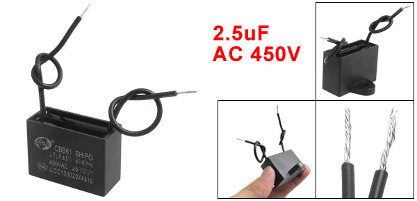 AC 450V 2.5uF 50/60Hz Fan Motor Start Run Capacitor CBB61