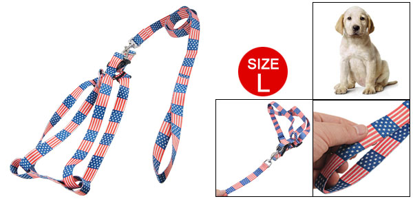 Adjustable Flag Pattern White Nylon Dog Pet Harness Leash