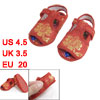 2 Pcs Sewing Flower Pattern Hook Loop Fastener Red Toddler Sandal...