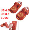 Pair Embroidery Phoenix Pattern Hook Loop Fastener Red Toddler Cl...