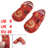 2 Pcs Gold Tone Phoenix Pattern Red Baby Crib Toddler Cloth Sanda...