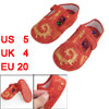 2 Pcs Gold Tone Phoenix Pattern T Strap 1-4 years Toddler Shoes
