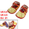 Pair Yellow Dragon Flower Print Hook Loop Fastener Baby Toddler S...