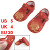 2 Pcs Sewing Flower Pattern Hook Loop Fastener Red Toddler Shoes ...