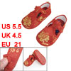 Pair Gold Tone Floral Pattern Red Baby Crib Toddler Shoes US 5.5