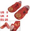 Pair Embroidery Phoenix Flower Print Red Baby Toddler Shoes US 5