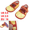 2 Pcs Yellow Flower Print Hook Loop Fastener Baby Toddler Shoes U...