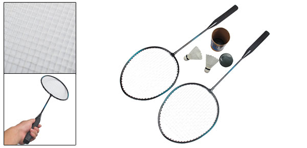 2 Pcs White String Sports Badminton Rackets Racquets w 2 Shuttlecocks