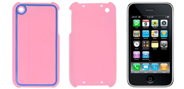 Plastic Shield Cover Case Pink Blue for iPhone 3G 3GS