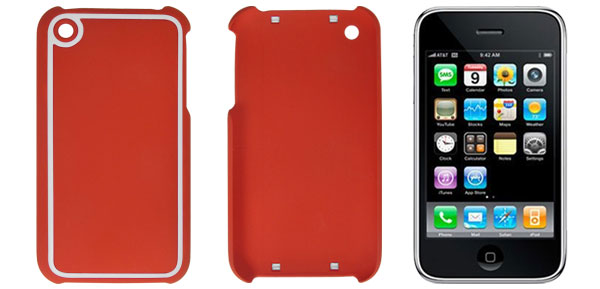 Plastic Shield Cover Case Red Silver Tone for iPhone 3G 3GS