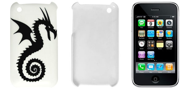 Plastic Dragon Pattern Shield Cover Case White for iPhone 3 3G