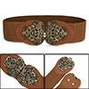 Woman Interlocking Buckle Brown Textured Elastic Fabric Waist Bel...