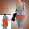 Woman Scoop Neck Layer Light Gray Orange Color Shirt w Pockets Ca...