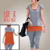 Ladies Single Breasted Decor Back Light Gray Orange Color Shirt w...