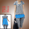Women Scoop Neck Layer Light Gray Blue Shirt w Elastic Waistband ...