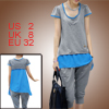 Ladies Scoop Neck Cap Sleeve Pullover Light Gray Blue Shirt w Ela...