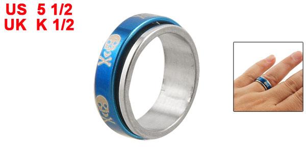 Silver Tone Skull Pattern Metal Finger Ring Jewelry UK K 1/2 for Women