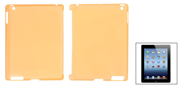 Hard Plastic Clearn Orange Protective Back Case Cover for Apple iPad 2 3