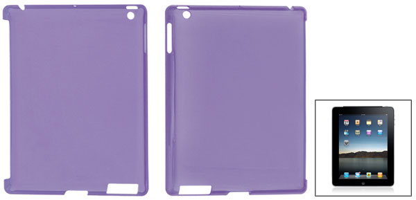 Clear Purple Hard Plastic Protective Back Case Cover for Apple iPad 2