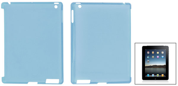 Clear Blue Hard Plastic Protective Back Case Cover for Apple iPad 2
