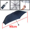 Plastic Handle Water Resistant Fabric Foldable Shaft Dark Blue Ra...