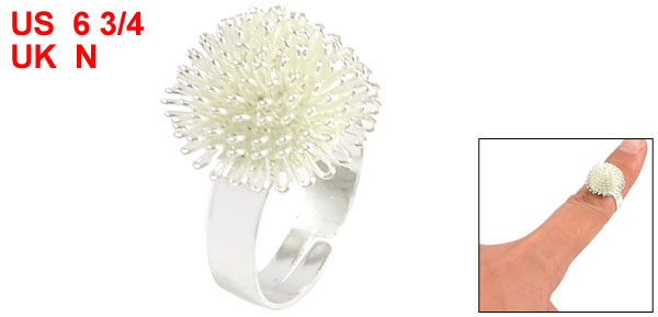 Chrysanthemum Shaped Metal Finger Ring Silver Tone for Woman Lady