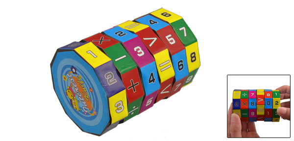 Kids Cylinder Shaped Colorful Plastic Equation Calculating Puzzle Toy