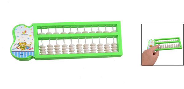 Green Plastic White Beads Janpanese Abacus Soroban Toy for Kids Children