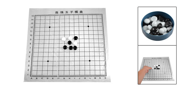 Black White Glass Chessman Gobang 5-in-1-row Mind Training Game Toy