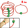 5 Pcs Heart Green Faux Jade Detail Lucky Braided Red Rope String ...