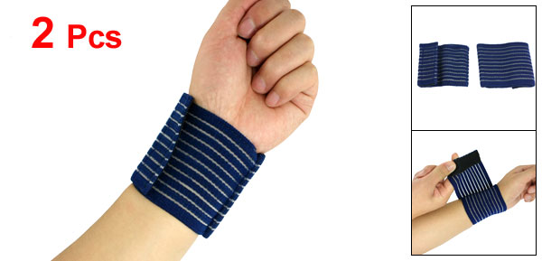 2 Pcs Hook Loop Fastener Elastic Sporting Wrist Wrap Support