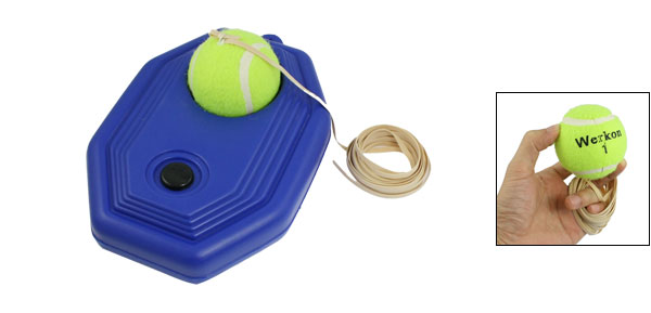 Sports Training Lime Green Tennis Ball Trainer w Blue Base