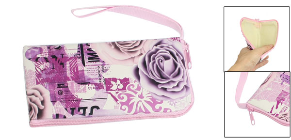 Phone Mp4 Rose Floral Letter Pattern Zip up Pouch Holder Purple Pink