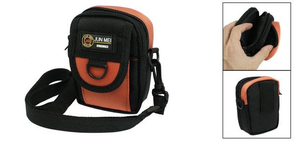 Black Orange Nylon Two Main Compartments Digital Camera Shoulder Bag