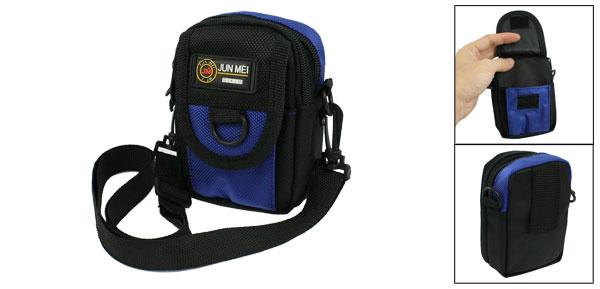 Black Blue Nylon Zipper Adjustable Belt Digital Camera Shoulder Bag