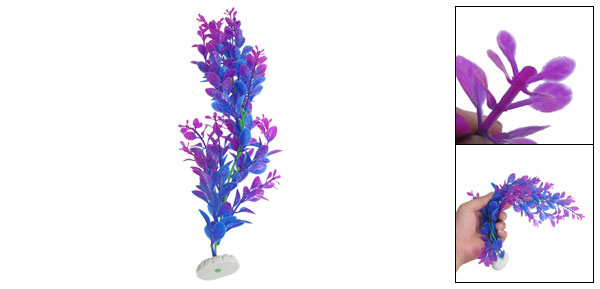 Fish Tank Aquascaping Fuchsia Blue Plastic Decorative Water Plant