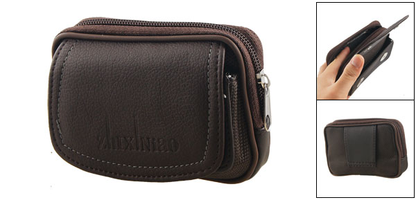 Men Belt Loop Faux Leather 2 Compartments Brown Waist Bag