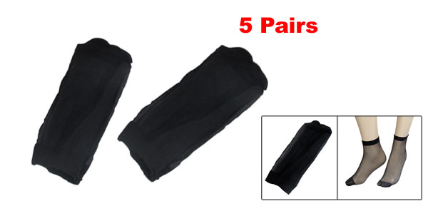 5 Pairs Soft Elastic Black Sheer Socks for Ladies