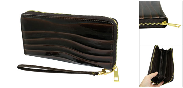Women Textured Wave Prints Faux Leather Zippered Purse Wristlet Chocolate Color