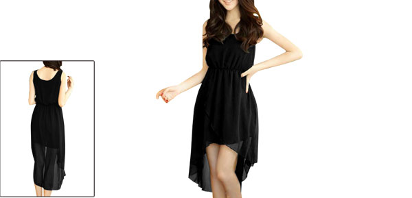 Woman Sleeveless Scoop Neck Crossover Irregular Hem Black Tank Dress XS