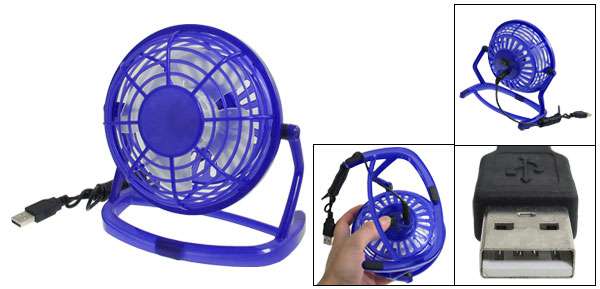 Blue Plastic 4 Flabellums USB Cooler Desk Mini Cooling Fan
