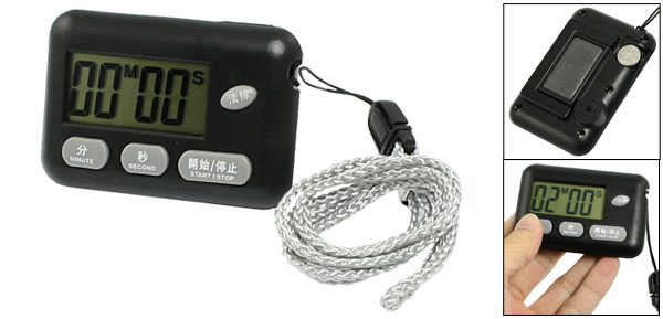 Black Rectangle Plastic Shell Count Up Down Digital Timer w Strap