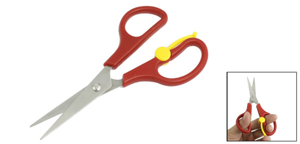 Office Stationery Burgundy Plastic Handle Long Blade Scissors